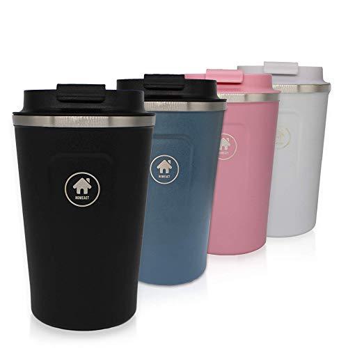 homeAct Thermobecher Kaffeebecher to go Coffee to go 380ml | 100% auslaufsicher aus Edelstahl mit Doppelwand Isolierung | BPA freier Travel Mug für Kaffee oder Tee (Schwarz)