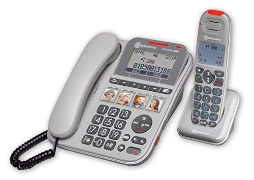 Amplicomms PowerTel 2880 - Big Button Telefon für ältere Menschen - Laute Telefone für hartes Hören - Hörgeräte kompatible Telefone - Big Number Telefon