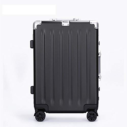 Travel Luggage Case PC Frosted Trolley Case Universal Wheel 20-28 Inch Aluminum Frame Suitcase Custom Lock Luggage Cabin Luggage (Color : Black, Size : 24 inches)