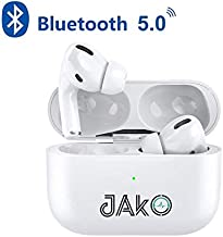 JAKO Bluetooth 5.0 Wireless Earbuds, A3 Pro Wireless Bluetooth Headphones with Noise Cancelling Microphone, TWS in-Ear Earphone, IPX5 Waterproof Earbuds for Sport, Touch Control, Rubber Texture, White
