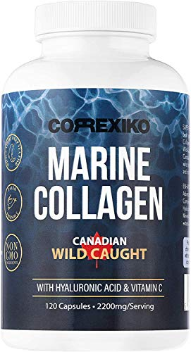 CORREXIKO Marine Collagen Pills, High Strength 2200mg Anti-Ageing Tablets (Canadian Wild-Caught Fish, not farmed) Hyaluronic Acid, VIT C & Minerals, for Skin Hair Nails Bones & Joints