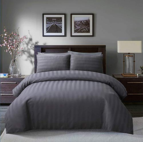 Sleepdown Soft Hotel Quality 250 THREAD COUNT POLYCOTTON Satin Stripe Duvet Cover Set With Pillowcases in Grey Colour(Double)
