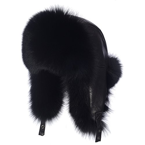 Ysting Silver Fox Fur & Russe Cuir Ushanka Hat (Noir)