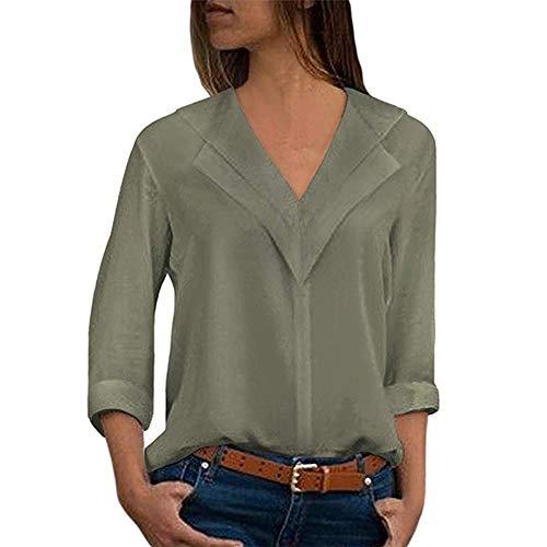 Femme Chemise Soie Chic Manche Longue T-Shirt Bureau Casual Col V éLéGant Bureau Chemisier Couleur Unie Blouse Femme Mode Tee Top Haut Blouse Eté S-5XL