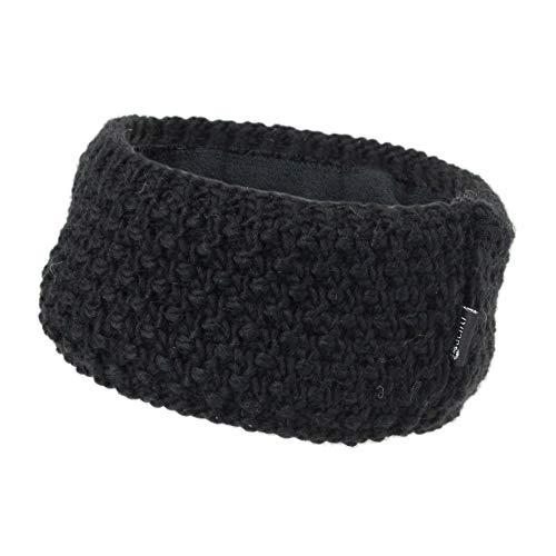 irisaa Stirnband Damen elastisches Haarband gefüttertes Mädchen Ohrwärmer gestricktes Kopfband Grobstrick mit Fleece Innenfutter, stirnband farbe:Schwarz
