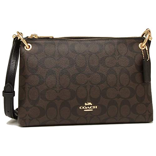 COACH WOMENS MIA CROSSBODY IN SIGNATURE CANVAS F76646 (Brown-Black-Gold), Medium