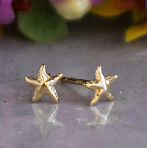 14K Gold Starfish Stud Earrings, 14K Solid Yellow Gold Dainty Sea Star-Fish Studs, Tiny Handmade Dainty Jewelry, Gold Pushback Closure Earrings, Simple Minimalist Birthday Gift for Young Women