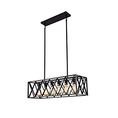 mirrea Vintage Pendant Light Fixture 6 Lights in Rectangle Frame Shade Matte Metal Black Painted Finish