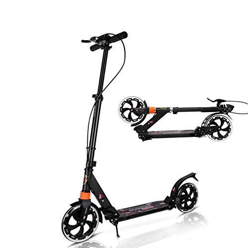 MONODEAL Adjustable Kick Scooter for Adults Teens, 2 Big Wheels with Aluminum Alloy Commuter Scooter for Kids 8 Years and up, Foldable Scooter with Dual Suspension/Rear Fender Brake