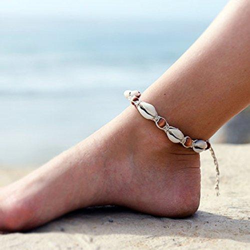 aukmla tobilleras pie pulseras 2pcs estilo vintage playa cadena de pie