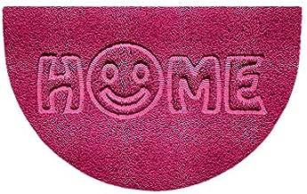 Nicoman Embossed Halfmoon Half Circle Door Mat Dirt-Trapper Jet-Washable Doormat 70x44cm (Pink, Home Smiley FACE Shape) - ...
