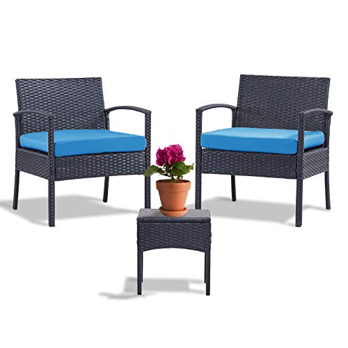 Leasbar Outdoor Chairs Set Bistro Set 3 Pieces Patio Conversation Set Furniture Set for Small Balcony Rattan Chairs and Table with Cushions Blue
