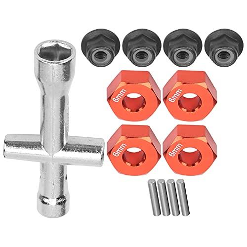 Adaptador de Cubo de Rueda de 4 Piezas + 4 Pines + 4 Tuercas Antideslizantes + Llave Cruzada, Kit de Llave de Enchufe de Adaptador de Cubo de 12 mm Tamaño Exacto de Alta precisión para(Rojo)