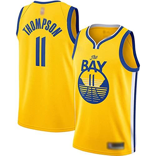 Thompson - Camiseta de baloncesto para hombre, diseño de uniforme de baloncesto para adultos, sin mangas, talla 11, color dorado