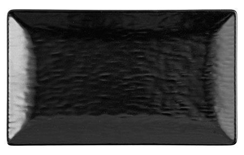 H&H H & H – Wavy Lot de 6 Assiettes rectangulaires, Stone Ware, Noir, 6 unités