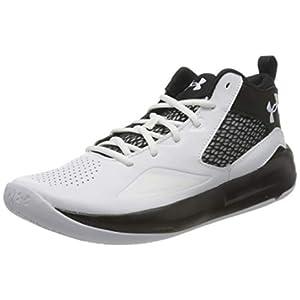 Under Armour Men's Lockdown 5 Basketball Shoe, White (100)/Black, 10