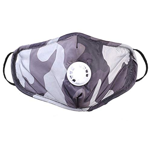 Reusable Filter Outdoor Masks with Respirator Valve Washable Dustmask Camouflage Outdoor Sports Masks Unisex Adult Breathable Face Masks for Pollen Allergy, Running, Cycling (1, Gray)