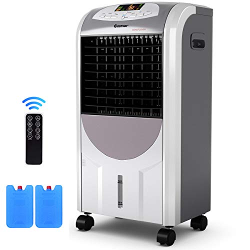 COSTWAY Evaporative Cooler and Heater, Portable Air Cooler with Fan & Humidifier Bladeless Quiet Electric Fan w/Remote Control for Indoor Home Office Dorms (29-Inch)