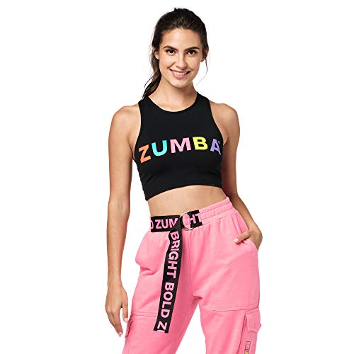 Zumba Cropped Top Fitness Workout Graphic Print Recortada Camisetas Tirantes Mujer de Entrenamiento Tank Tops, Bright Black, Medium Womens