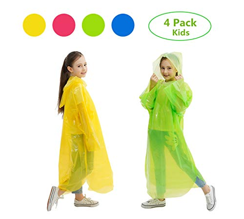 Emergency Rain Poncho for Kids, Disposable Drawstring Hood Poncho for Boys/Girls, 4 Colors - Red, Blue, Green, Yellow