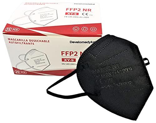 DEVELOMEDYKAL 25 Mascarillas FFP2 Homologada CE, Mascara Negra Adulto, Protector Facial desechable (Negro)
