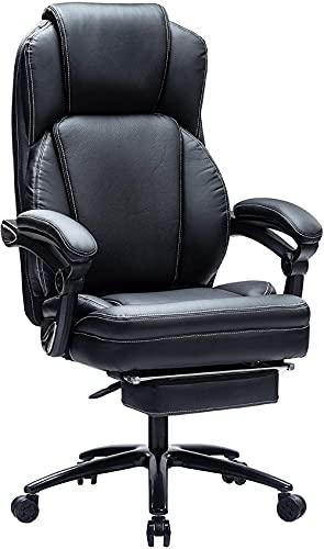 Bürostuhl Chefsessel Leder Computerstuhl mit Fußstütze Büro-Schreibtischstuhl mit Breitem Sitz Chefsessel bis 250 KG (Schwarz-9095)