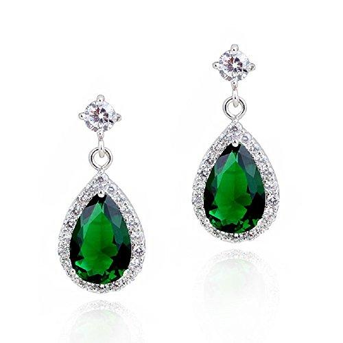 Lágrimas Pendientes con Esmeralda simulada verde Cristales austríacos de Zirconia 18k Chapado en oro blanco para mujer