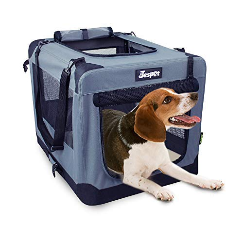 "Jespet Soft Dog Crates Kennel for Pets, 3 Door 26"" Soft Sided Folding Travel Pet Carrier with Straps and Fleece Mat for Dogs, Cats, Rabbits"