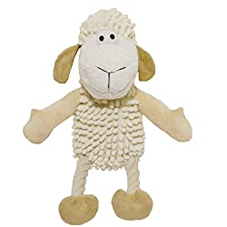 Soft plush toy with neutral Colour pallete. Multi-textured offering your dog a wide variety of touch sensations when they play. Unbleached rope legs also add another different texture! Soft plush toy in neutral colours.