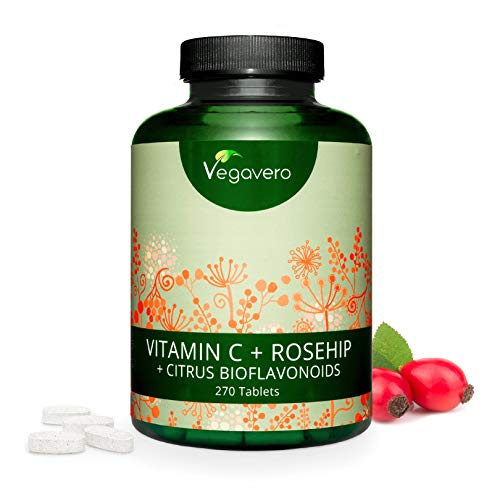 VITAMINA C 1020mg + Rosa Mosqueta 20mg + Bioflavonoides 20mg | 270 comprimidos | comprimidos ecológico vegano | por Vegavero calidad de Alemania (270 comprimidos para 10 meses)