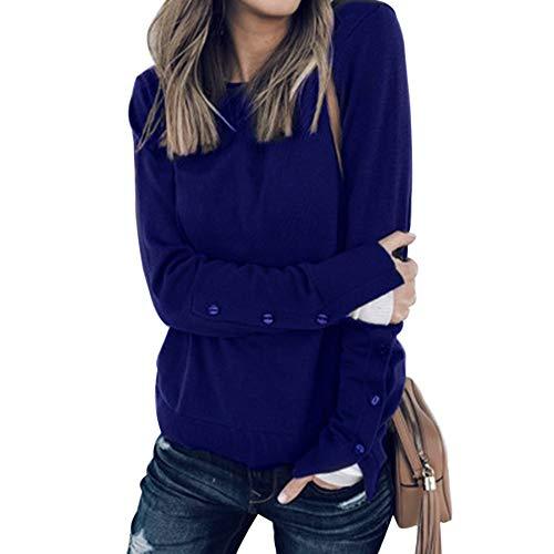 Vertvie Dames shirt met lange mouwen ronde hals uitsparingen bovenstukken tops locker casual pullover eenstuk sweatshirt herfst winter sweater met ritssluiting