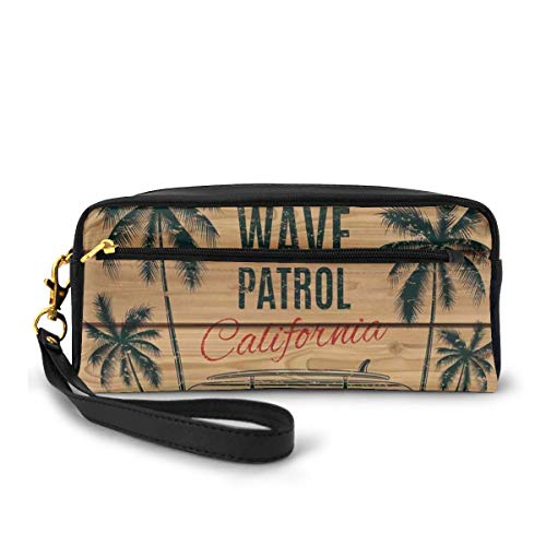 Pencil Case Pen Bag Pouch Stationary,Vintage Minivan with Tropical Trees on Wooden Planks Freedom Fun Wave Weekend Theme,Small Makeup Bag Coin Purse