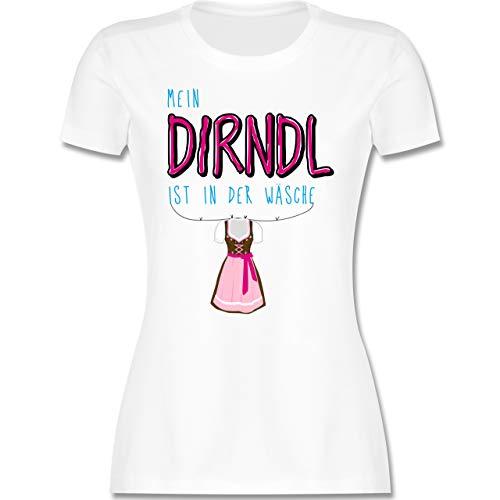 Oktoberfest & Wiesn Damen - Mein Dirndl ist in der Wäsche - M - Weiß - t Shirt Oktoberfest Damen - L191 - Tailliertes Tshirt für Damen und Frauen T-Shirt