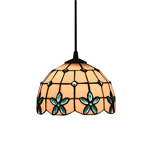 Pendant Lamp Modern Round Design Hanging Light Stained Glass and Blue Crystal Suspension Ceiling Lamps Bedroom Living Dining Room,Height Adjustable E27 Φ30cm