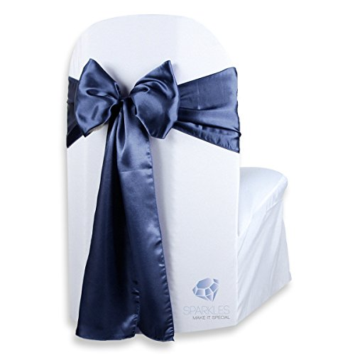 Sparkles Make It Special 150 pcs Satin Chair Cover Bow Sash - Navy Blue - Wedding Party Banquet Reception - 28 Colors Available