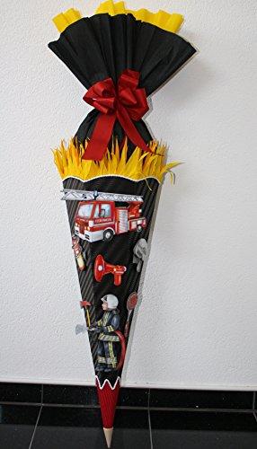 Bastelset Schultüte Zuckertüte Feuerwehr mit 3D XXL Sticker Design 1 schwarz