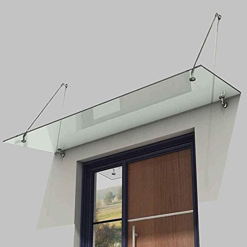 Euro Tische Vordach für Haustür aus belastbarem ESG Sicherheitsglas - Glas Überdachung in 3 verschiedenen Größen + Halterung aus Edelstahl (200x90cm)