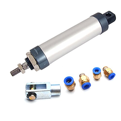 Sydien 100mm Stroke 32mm Bore Aluminum Alloy Mini Air Cylinder with Y Connector and 4Pcs Pneumatic Quick Fitting (MAL32x100)