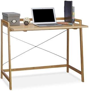 Relaxdays Bureau en bambou table en bois moderne 80x100 table ordinateur portable HxlxP: 80 x 98,5 x 59 cm, nature
