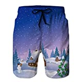 LJKHas232 101 Mens Summer Swim Trunks Shorts de Playa de Secado rápido Shorts Xmas Night Village M