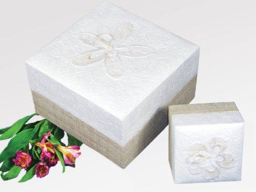 Kronos - Urne biodégradable en papier blanc avec motif fleur - Dim : Cm. 16 x 16 x 9; vol. lt 1,65