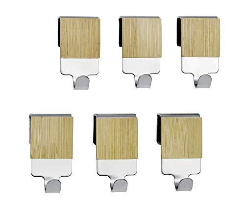 WENKO Haken mit Bambus Premium - 6er Set, Küchen-Haken für Reling, Edelstahl rostfrei, 2 x 4 x 2.5 cm, Silber matt