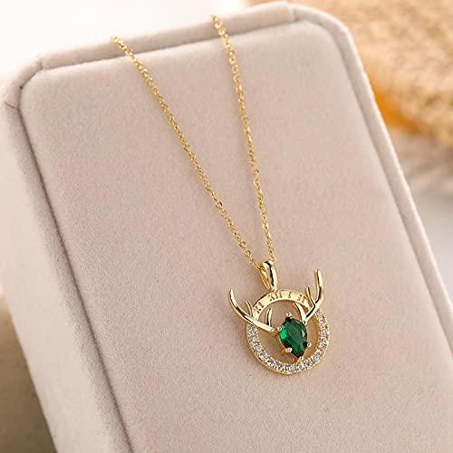 Collares Joyería Colgantes Elegante, Romántico, Todo El Camino, Collar De Astas De Cristal Verde Azul para Mujer, Joyería De Acero Inoxidable De Estil
