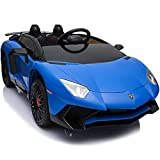 電動乗用ラジコンカー ランボルギーニ アベンタドール SV [BDM0913] Lamborghini Aventador sv ライセンス 乗用玩具 12V7Ahバッテリー EVAタイヤ 革調シート 【RC/乗用玩具/電動ラジコン】 (ブルー)