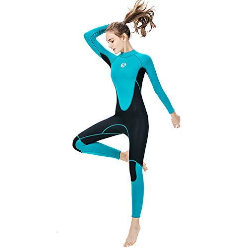 SIXIAO Trajes De Neopreno para Mujer De 3 Mm De Neopreno De Cuerpo Completo Protección UV Mangas Largas De Una Pieza Manténgase Abrigado Cremallera Trasera para Deportes Acuáticos (M,Green)