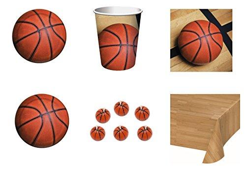 coordonné enfants Sport Basket pour anniversaire événements décorations table Fête – Kit N ° 2 CDC- (16 assiettes, 16 gobelets, 18 Serviettes, 1 nappe, 6 bougies forme ballon basket)