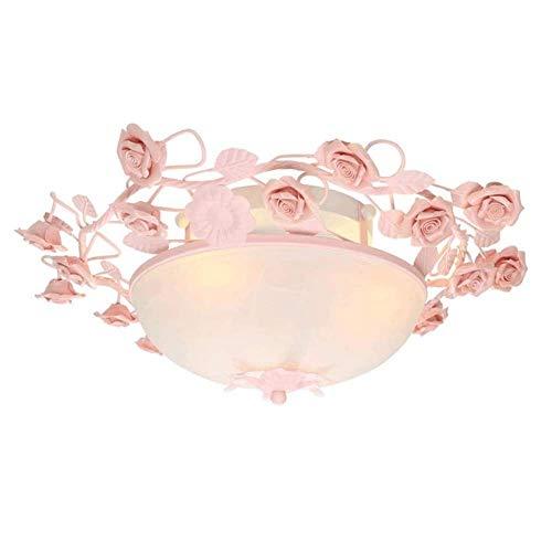Zixin European-Art-keramische Rose Deckenleuchte, Koreanisch Pastoral Glass Ceiling Light, Warm Balkon Wohnzimmer Junge Mädchen Kinderzimmer Blumen-Dekoration