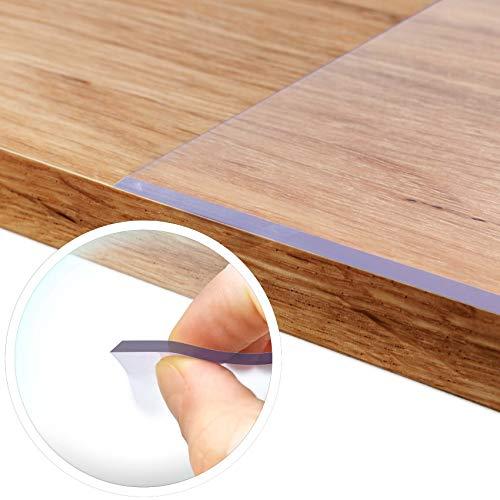ANRO Tischfolie durchsichtig abwaschbar 2mm Transparent Tischdecke Weich PVC Folie abgeschrägte Kante V 45° 90x180cm Viele Größen (1000)