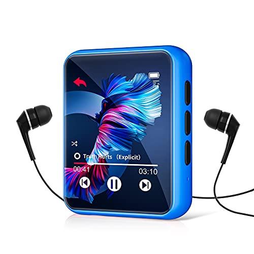 32GB Reproductor MP3 Bluetooth 5.0 con Pantalla Táctil Completa, JOLIKE HiFi Reproductor de Música con Altavoz Interno, Line-in Grabación de Voz, Radio FM, Podómetro, Soporte hasta 128 GB Tarjeta