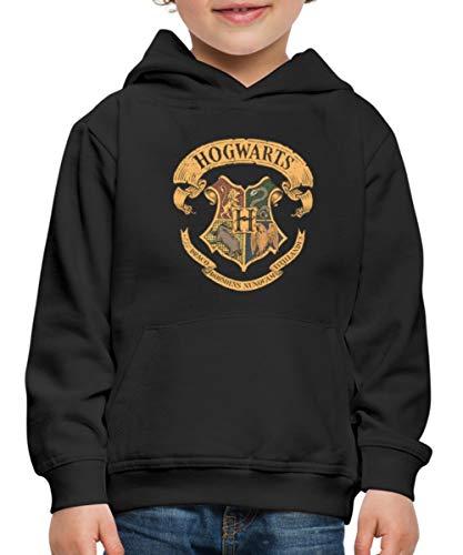 Spreadshirt Harry Potter Emblème Hogwarts Vintage Pull À Capuche Premium Enfant, 9-11 Ans, Noir